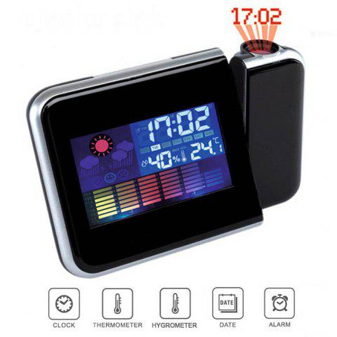 Outfits DS - 8190 LED Rotating Projection Color Screen Calendar Clock with Weather Forecast Alarm Function - BLACK  Mobile