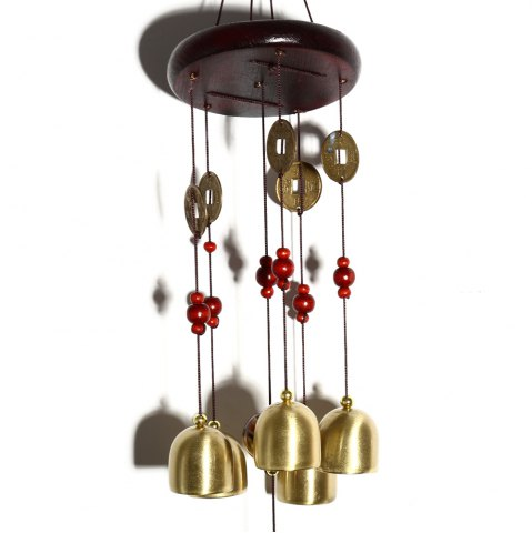 Store Creative Golden Bells Wind Chimes Home Window Room Garden Hanging Ornament - CHAMPAGNE  Mobile