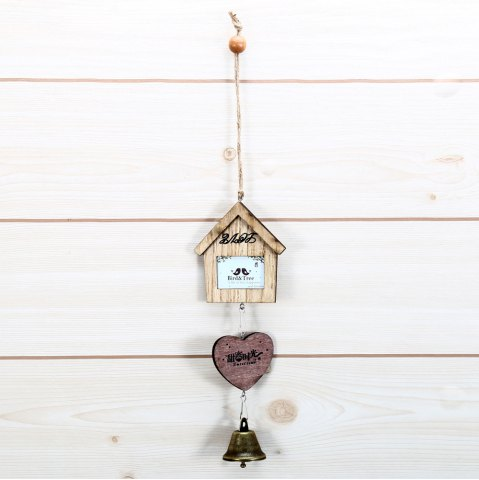 Store Creative Small House and Heart Shape Wind Chimes Home Window Room Garden Hanging Ornament - BROWN  Mobile