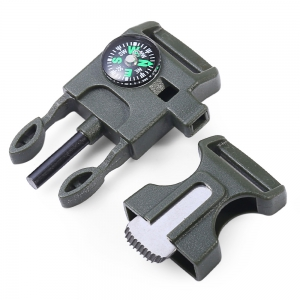 2pcs 4 in 1 Practical Survival Tool Buckle Shape Fire Starter Whistle Compass Scraper - ARMY GREEN