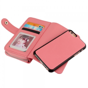 2 in 1 PU Leather Pocket Protective Case for iPhone 6 / 6S Zipper Closed Full Body Mobile Shell with Card Slot -