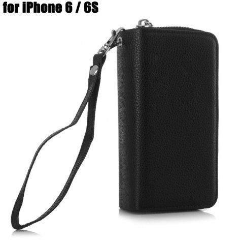 Online 2 in 1 PU Leather Pocket Protective Case for iPhone 6 / 6S Zipper Closed Full Body Mobile Shell with Card Slot BLACK