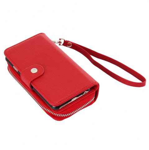 Unique 2 in 1 PU Leather Pocket Protective Case for iPhone 6 / 6S Zipper Closed Full Body Mobile Shell with Card Slot - RED  Mobile