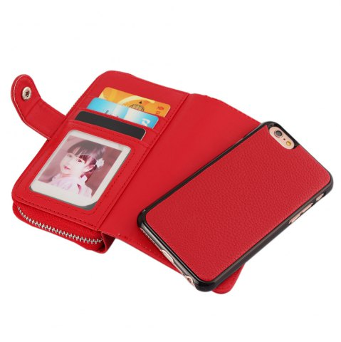 Fancy 2 in 1 PU Leather Pocket Protective Case for iPhone 6 / 6S Zipper Closed Full Body Mobile Shell with Card Slot - RED  Mobile