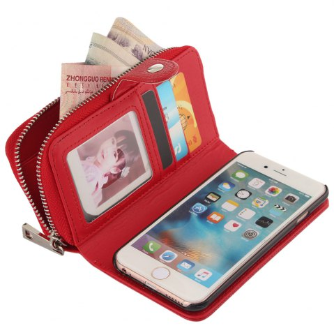 Cheap 2 in 1 PU Leather Pocket Protective Case for iPhone 6 / 6S Zipper Closed Full Body Mobile Shell with Card Slot - RED  Mobile