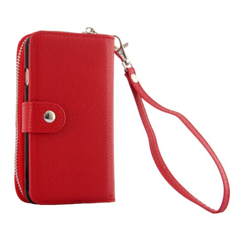 Buy 2 in 1 PU Leather Pocket Protective Case for iPhone 6 / 6S Zipper Closed Full Body Mobile Shell with Card Slot - RED  Mobile