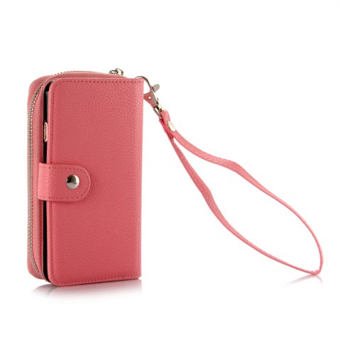 Unique 2 in 1 PU Leather Pocket Protective Case for iPhone 6 / 6S Zipper Closed Full Body Mobile Shell with Card Slot - PINK  Mobile