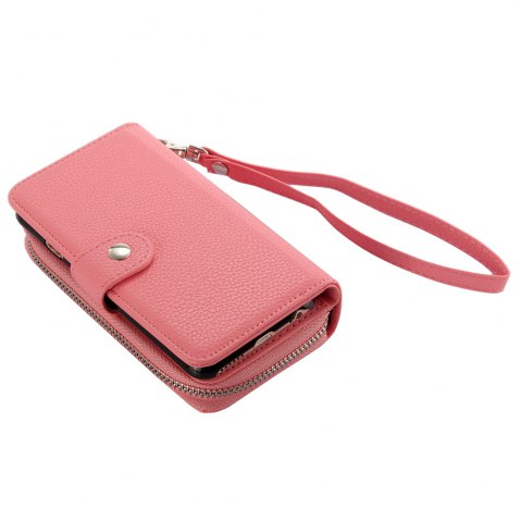 Best 2 in 1 PU Leather Pocket Protective Case for iPhone 6 / 6S Zipper Closed Full Body Mobile Shell with Card Slot - PINK  Mobile