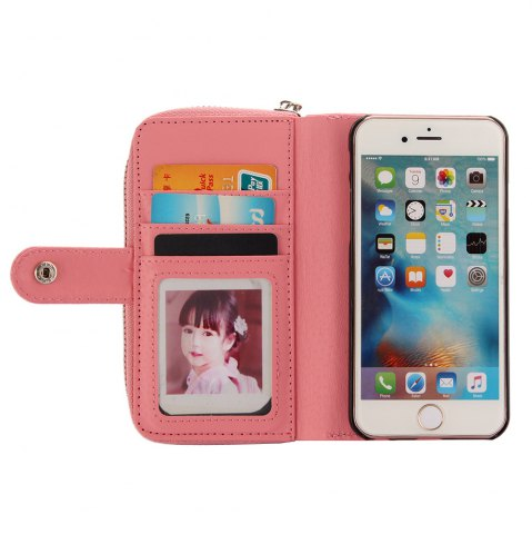 Cheap 2 in 1 PU Leather Pocket Protective Case for iPhone 6 / 6S Zipper Closed Full Body Mobile Shell with Card Slot - PINK  Mobile