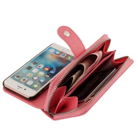 Fancy 2 in 1 PU Leather Pocket Protective Case for iPhone 6 / 6S Zipper Closed Full Body Mobile Shell with Card Slot - PINK  Mobile