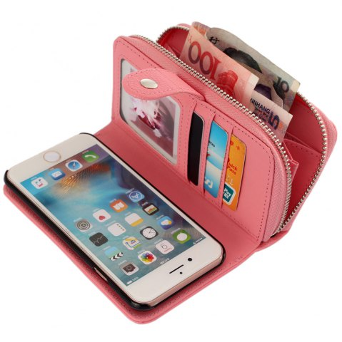 Affordable 2 in 1 PU Leather Pocket Protective Case for iPhone 6 / 6S Zipper Closed Full Body Mobile Shell with Card Slot - PINK  Mobile