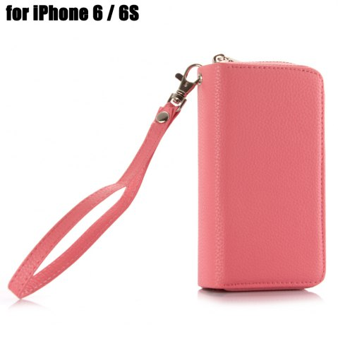 Buy 2 in 1 PU Leather Pocket Protective Case for iPhone 6 / 6S Zipper Closed Full Body Mobile Shell with Card Slot - PINK  Mobile