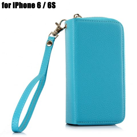 Unique 2 in 1 PU Leather Pocket Protective Case for iPhone 6 / 6S Zipper Closed Full Body Mobile Shell with Card Slot - BLUE  Mobile