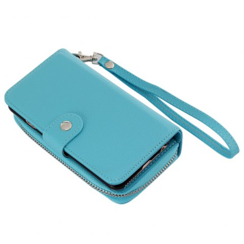Cheap 2 in 1 PU Leather Pocket Protective Case for iPhone 6 / 6S Zipper Closed Full Body Mobile Shell with Card Slot - BLUE  Mobile