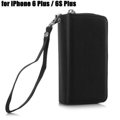 Best 2 in 1 PU Leather Pocket Protective Case for iPhone 6 Plus / 6S Plus Zipper Closed Full Body Mobile Shell with Card Slot
