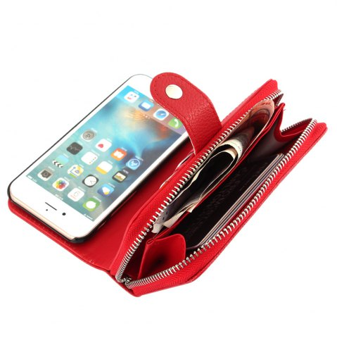 Hot 2 in 1 PU Leather Pocket Protective Case for iPhone 6 Plus / 6S Plus Zipper Closed Full Body Mobile Shell with Card Slot - RED  Mobile