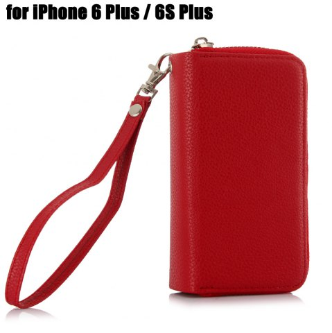 Cheap 2 in 1 PU Leather Pocket Protective Case for iPhone 6 Plus / 6S Plus Zipper Closed Full Body Mobile Shell with Card Slot