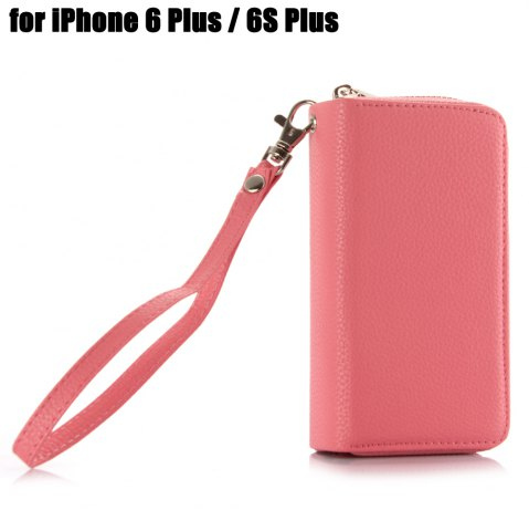 Affordable 2 in 1 PU Leather Pocket Protective Case for iPhone 6 Plus / 6S Plus Zipper Closed Full Body Mobile Shell with Card Slot