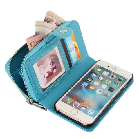Discount 2 in 1 PU Leather Pocket Protective Case for iPhone 6 Plus / 6S Plus Zipper Closed Full Body Mobile Shell with Card Slot - BLUE  Mobile