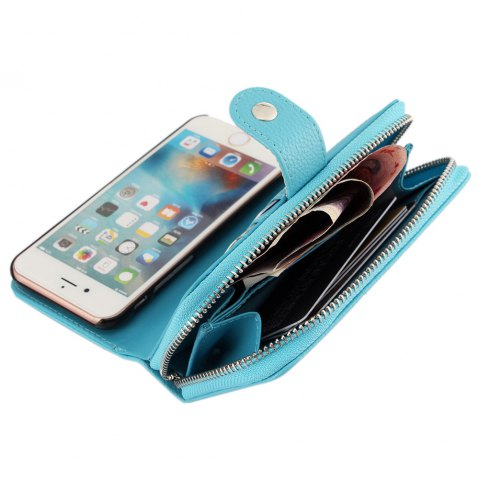Affordable 2 in 1 PU Leather Pocket Protective Case for iPhone 6 Plus / 6S Plus Zipper Closed Full Body Mobile Shell with Card Slot - BLUE  Mobile