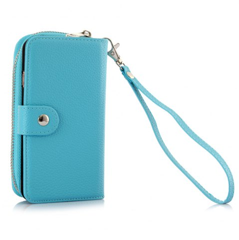 Store 2 in 1 PU Leather Pocket Protective Case for iPhone 6 Plus / 6S Plus Zipper Closed Full Body Mobile Shell with Card Slot - BLUE  Mobile