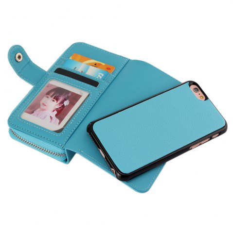 Hot 2 in 1 PU Leather Pocket Protective Case for iPhone 6 Plus / 6S Plus Zipper Closed Full Body Mobile Shell with Card Slot - BLUE  Mobile