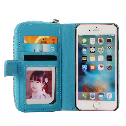Fashion 2 in 1 PU Leather Pocket Protective Case for iPhone 6 Plus / 6S Plus Zipper Closed Full Body Mobile Shell with Card Slot - BLUE  Mobile