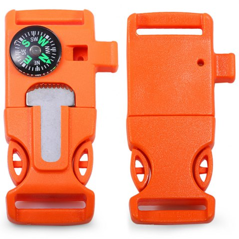 Sale 2pcs 4 in 1 Practical Survival Tool Buckle Shape Fire Starter Whistle Compass Scraper ORANGE