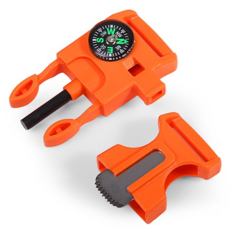 Chic 2pcs 4 in 1 Practical Survival Tool Buckle Shape Fire Starter Whistle Compass Scraper - ORANGE  Mobile