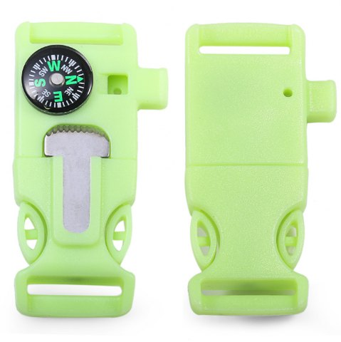 2pcs 4 in 1 Practical Survival Tool Buckle Shape Fire Starter Whistle Compass Scraper - Light Green - One Size