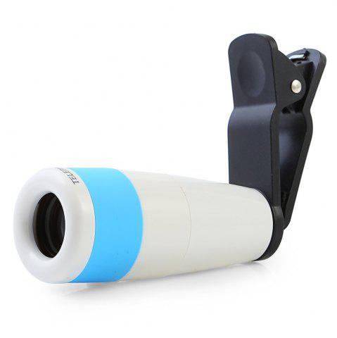 Fashion Roof BAK - 4 Prism 8X HD Monocular Portable Mobile Phone Accessory with Clip - BLUE AND WHITE  Mobile