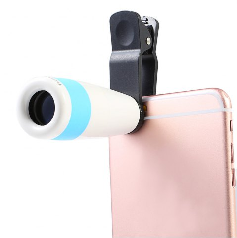 Hot Roof BAK - 4 Prism 8X HD Monocular Portable Mobile Phone Accessory with Clip - BLUE AND WHITE  Mobile