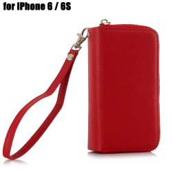 2 in 1 PU Leather Pocket Protective Case for iPhone 6 / 6S Zipper Closed Full Body Mobile Shell with Card Slot