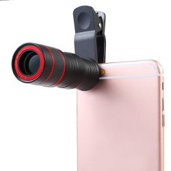 Roof BAK - 4 Prism 8X HD Monocular Mini Mobile Phone Accessory with Clip - BLACK