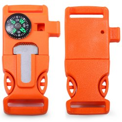 2pcs 4 in 1 Practical Survival Tool Buckle Shape Fire Starter Whistle Compass Scraper - ORANGE