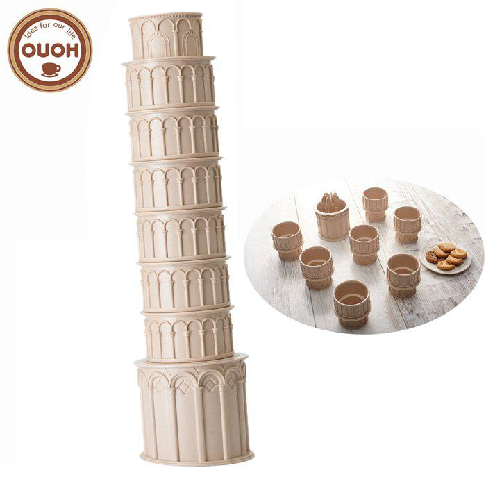 Outfit OUOH Pisa Tower Shaped Water Bottle Set with 6PCS Spoon - 270ml