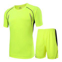 Men Sweat-absorbent Breathable Sports Suit T-shirt Shorts Football Clothing - GREEN