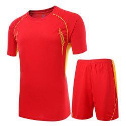 Men Sweat-absorbent Breathable Sports Suit T-shirt Shorts Football Clothing