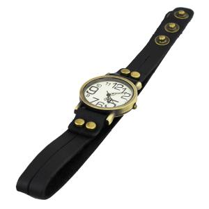 CaiQi Unisex Watch with Quartz Analog Dial Button Leather Watchband -