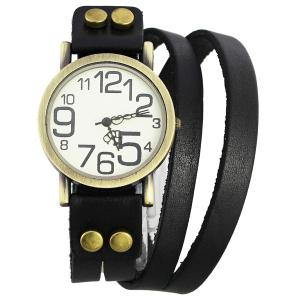 CaiQi Unisex Watch with Quartz Analog Dial Button Leather Watchband - Black