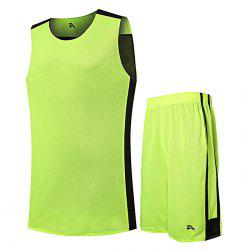 Men Quick-drying Sleeveless Basketball Suit with Pocket for Fitness - GREEN