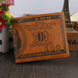 Retro PU Leather Men Wallet with US Dollar Pattern Card Holder - LIGHT COFFEE