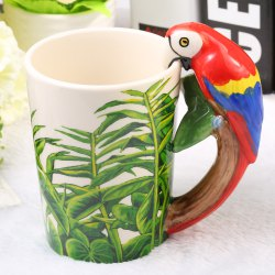 Creative Parrot Shaped Ceramic Mug Decorative Cup for Coffee Tea Juice