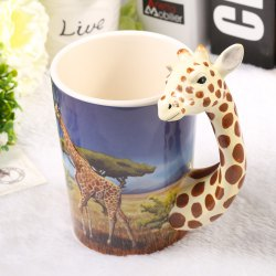 Creative Giraffe Shaped Ceramic Mug Decorative Cup for Coffee Tea Juice