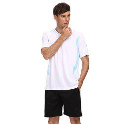 Male Sweat-absorbent Breathable Football Suit Exercising Clothes - WHITE