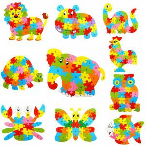 Animal Style Alphabet Wooden Puzzle Game Intelligent Toy - 4pcs / set