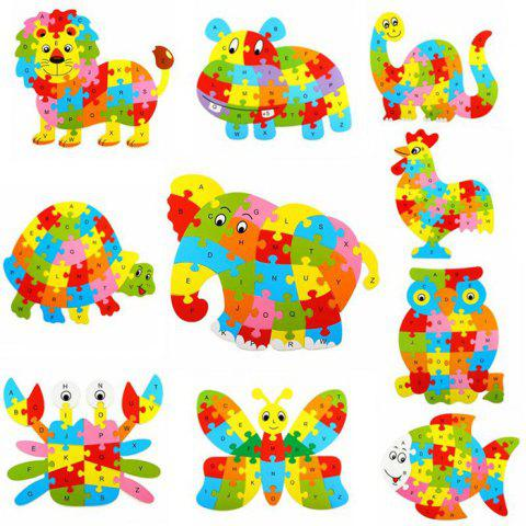 Store Animal Style Alphabet Wooden Puzzle Game Intelligent Toy - 4pcs / set COLORMIX