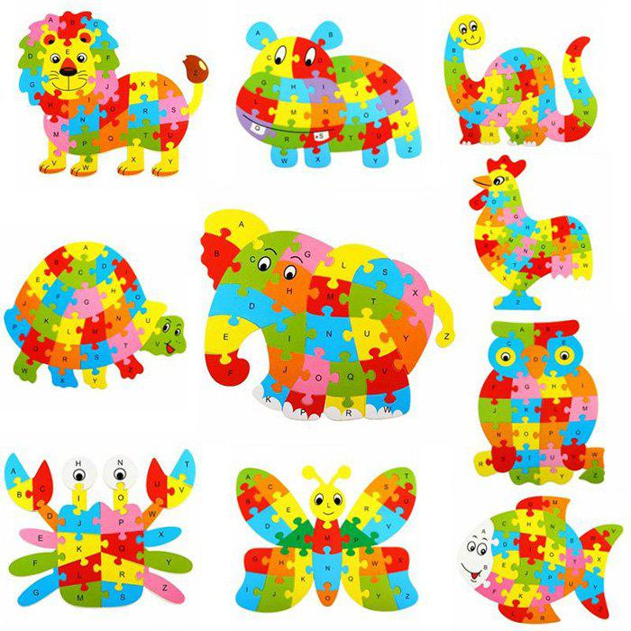 Animal Style Alphabet Wooden Puzzle Game Intelligent Toy - 4pcs / setHOME<br><br>Color: COLORMIX; Type: 3D Puzzle; Gender: Unisex; Theme: Animals; Style: Cartoon; Materials: Wood; Stem From: Other;