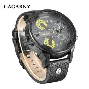 Cagarny 6820 Date Function Male Quartz Watch Double Movt Wristwatch with Decorative Sub-dials Leather Strap -