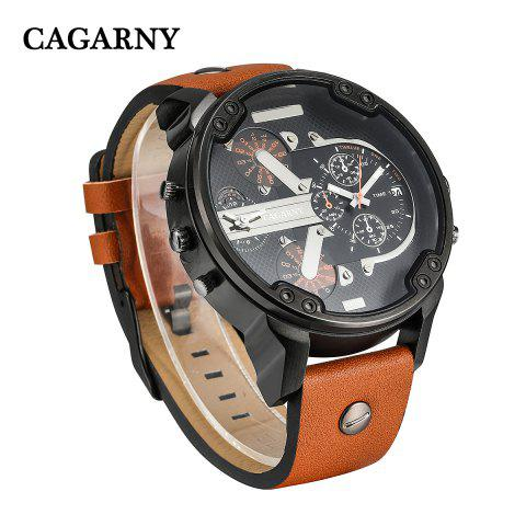 Fashion Cagarny 6820 Date Function Male Quartz Watch Double Movt Wristwatch with Decorative Sub-dials Leather Strap -   Mobile